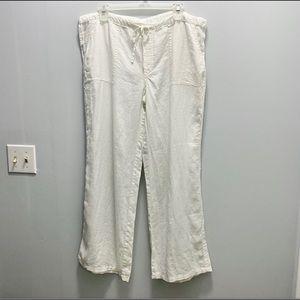 London Jean 100% Linen Pants White Large